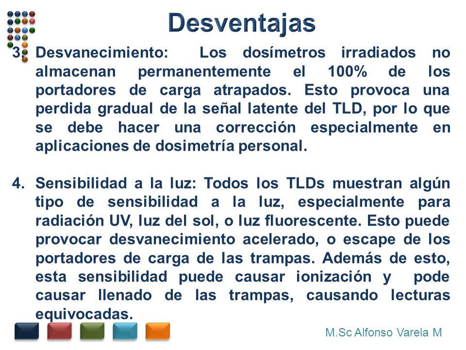 M.Sc Alfonso Varela M 3.Desvanecimiento: Los dosímetros irradiados no almacenan permanentemente el 100% de los portadores de carga atrapados. Esto pro