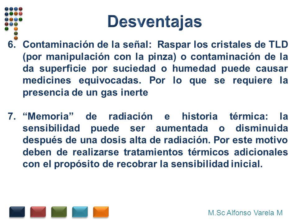 M.Sc Alfonso Varela M 6.Contaminación de la señal: Raspar los cristales de TLD (por manipulación con la pinza) o contaminación de la da superficie por suciedad o humedad puede causar medicines equivocadas.