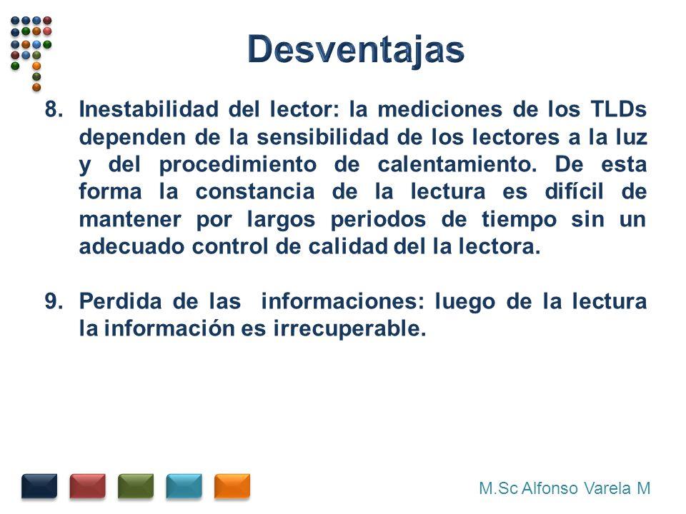 M.Sc Alfonso Varela M 8.Inestabilidad del lector: la mediciones de los TLDs dependen de la sensibilidad de los lectores a la luz y del procedimiento de calentamiento.