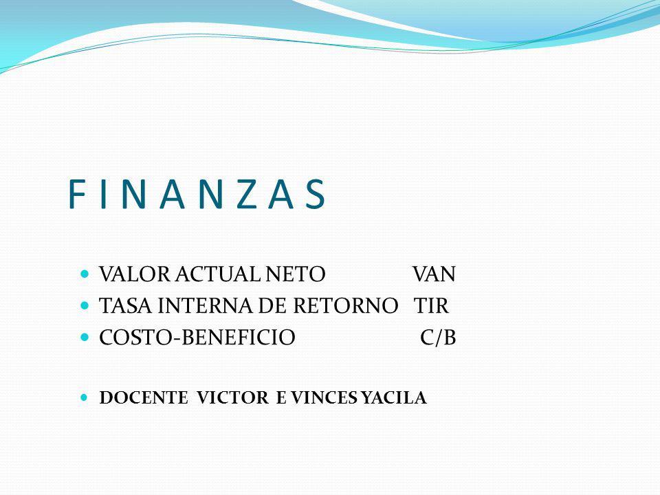 VALOR ACTUAL NETO VAN TASA INTERNA DE RETORNO TIR COSTO-BENEFICIO C/B DOCENTE VICTOR E VINCES YACILA F I N A N Z A S