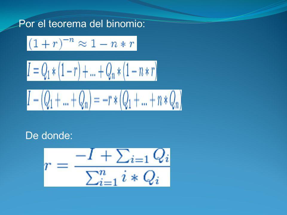Por el teorema del binomio: De donde: