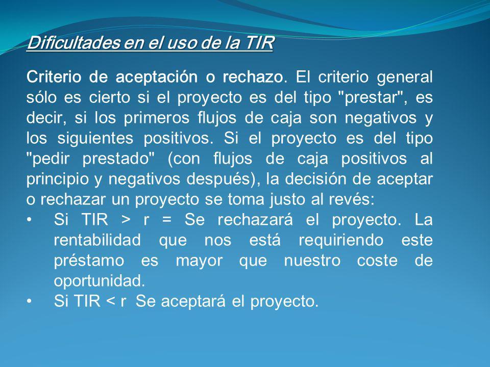 Dificultades en el uso de la TIR Criterio de aceptación o rechazo. El criterio general sólo es cierto si el proyecto es del tipo