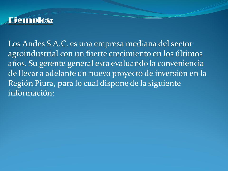 Ejemplos: Los Andes S.A.C. es una empresa mediana del sector agroindustrial con un fuerte crecimiento en los últimos años. Su gerente general esta eva