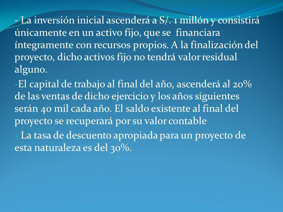 - La inversión inicial ascenderá a S/. 1 millón y consistirá únicamente en un activo fijo, que se financiara íntegramente con recursos propios. A la f