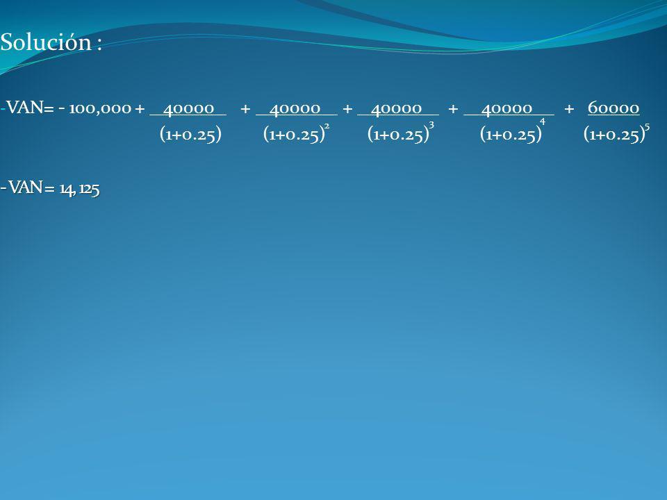 Solución : - VAN= - 100,000 + 40000 + 40000 + 40000 + 40000 + 60000 (1+0.25) (1+0.25) (1+0.25) (1+0.25) (1+0.25) - VAN = 14, 125 2 3 4 5