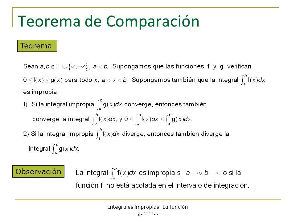 Integrales impropias. La función gamma. Teorema de Comparación Teorema Observación