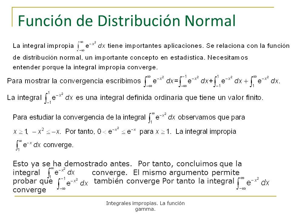 Integrales impropias. La función gamma. Función de Distribución Normal Esto ya se ha demostrado antes. Por tanto, concluimos que la integral converge.