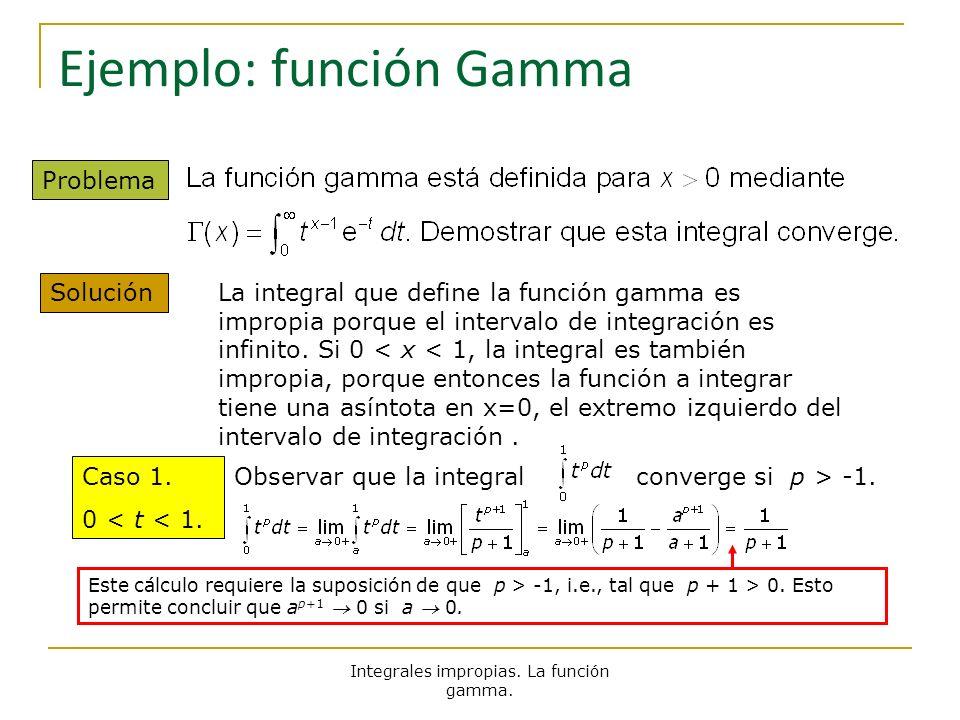 Integrales impropias. La función gamma. Ejemplo: función Gamma Problema Solución La integral que define la función gamma es impropia porque el interva