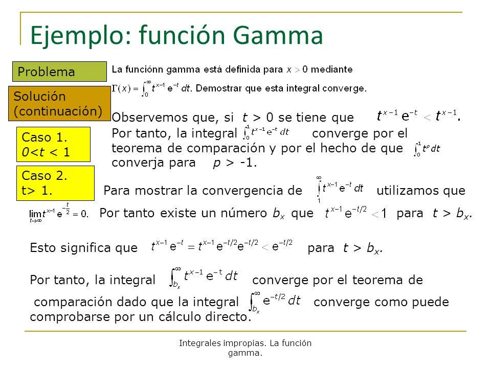 Integrales impropias. La función gamma. Ejemplo: función Gamma Problema Solución (continuación) Caso 1. 0<t < 1 Observemos que, si t > 0 se tiene que