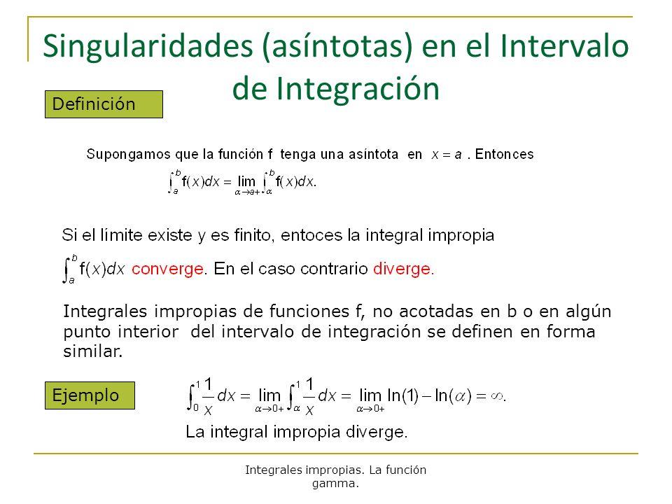 Integrales impropias. La función gamma. Singularidades (asíntotas) en el Intervalo de Integración Definición Integrales impropias de funciones f, no a
