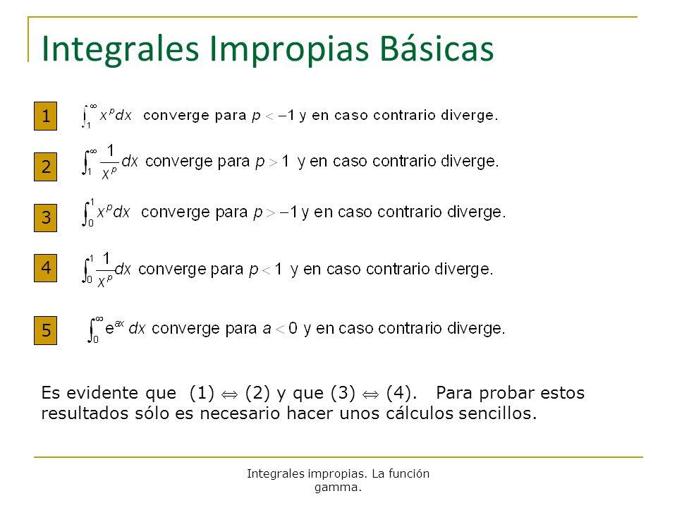 Integrales impropias. La función gamma. Integrales Impropias Básicas Es evidente que (1) (2) y que (3) (4). Para probar estos resultados sólo es neces