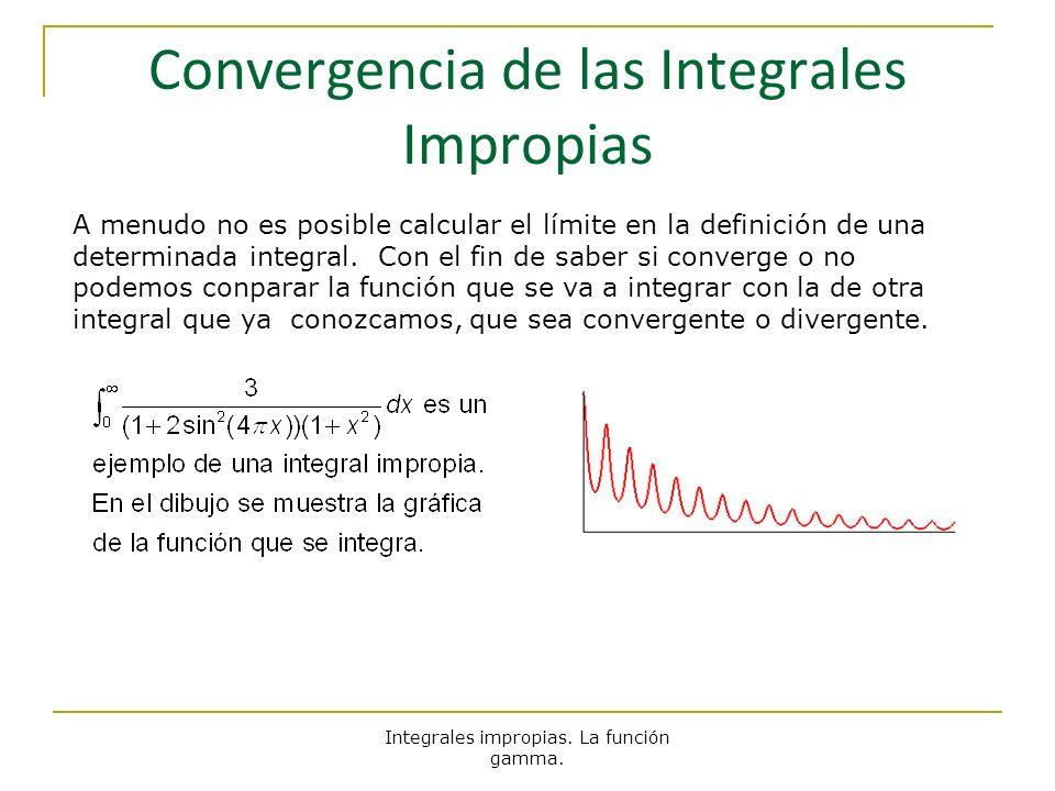 Integrales impropias. La función gamma. Convergencia de las Integrales Impropias A menudo no es posible calcular el límite en la definición de una det