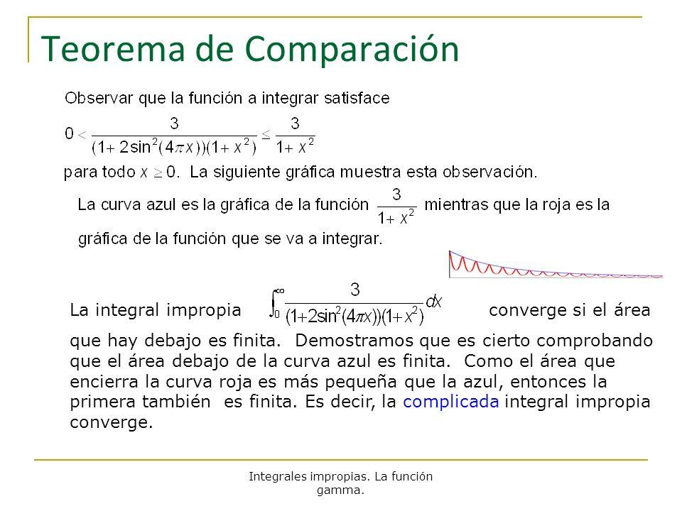 Integrales impropias. La función gamma. Teorema de Comparación La integral impropia converge si el área que hay debajo es finita. Demostramos que es c