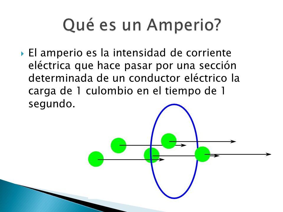 El amperio es la intensidad de corriente eléctrica que hace pasar por una sección determinada de un conductor eléctrico la carga de 1 culombio en el t