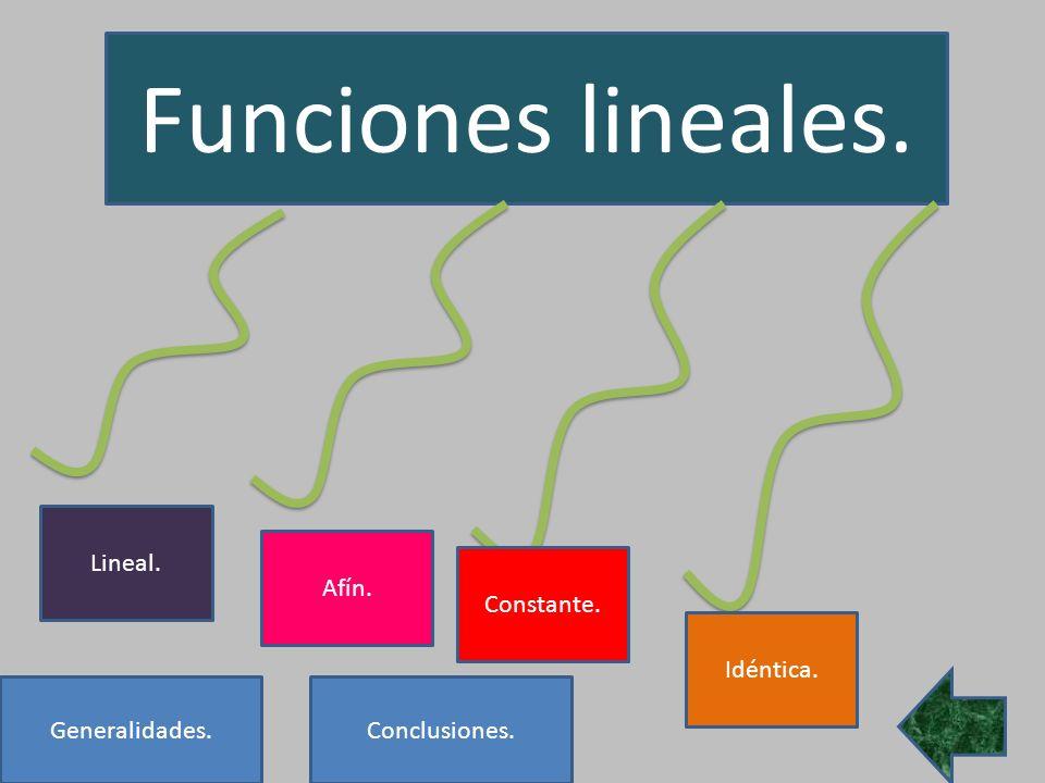 Funciones lineales. Lineal. Afín. Constante. Idéntica. Generalidades.Conclusiones.