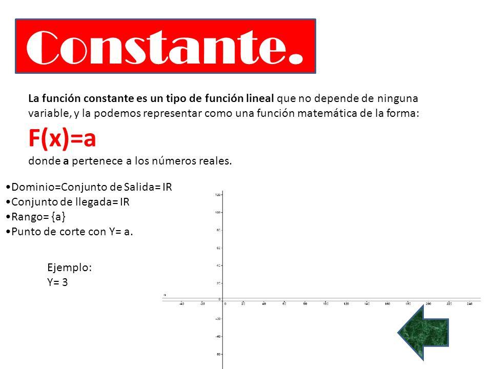 Constante. La función constante es un tipo de función lineal que no depende de ninguna variable, y la podemos representar como una función matemática