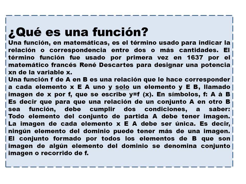 ¿Qué es una función? Una función, en matemáticas, es el término usado para indicar la relación o correspondencia entre dos o más cantidades. El términ