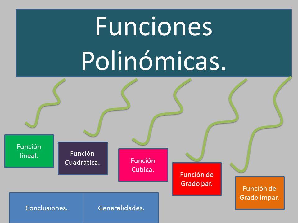 Funciones Polinómicas. Función Cuadrática. Función Cubica. Función de Grado par. Función de Grado impar. Generalidades.Conclusiones. Función lineal.