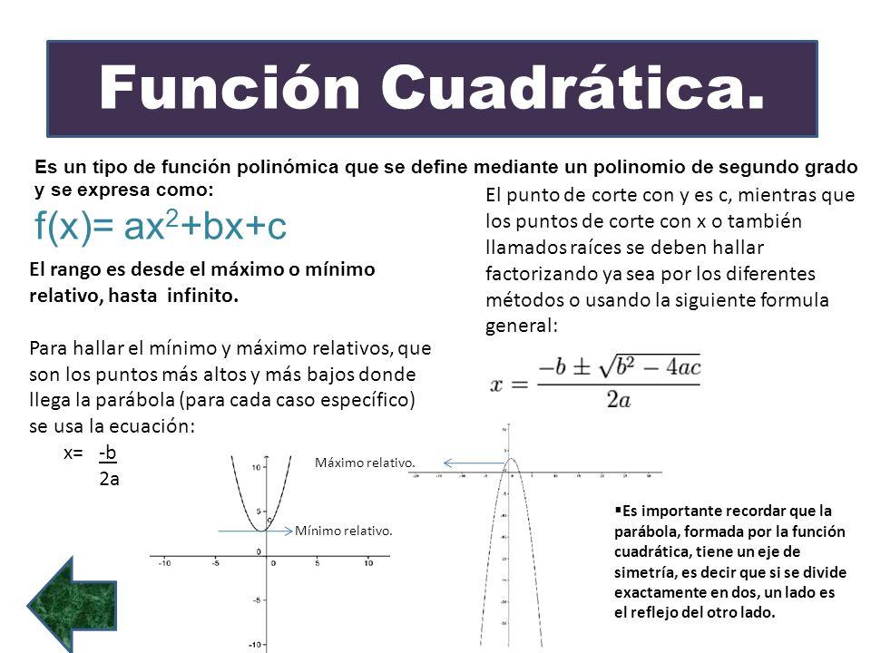 Función Cuadrática. Es un tipo de función polinómica que se define mediante un polinomio de segundo grado y se expresa como: f(x)= ax 2 +bx+c El rango
