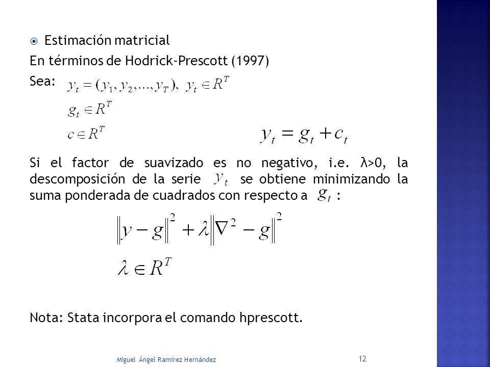 Estimación matricial En términos de Hodrick-Prescott (1997) Sea: Si el factor de suavizado es no negativo, i.e. λ>0, la descomposición de la serie se