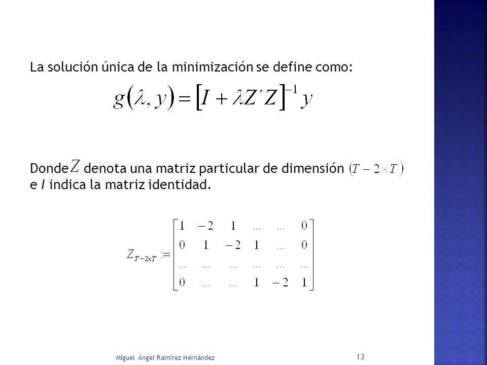 La solución única de la minimización se define como: Donde denota una matriz particular de dimensión e I indica la matriz identidad. Miguel Ángel Ramí