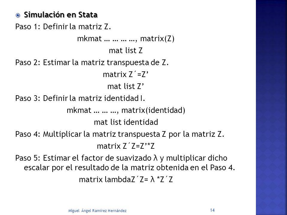 Miguel Ángel Ramírez Hernández 14 Simulación en Stata Simulación en Stata Paso 1: Definir la matriz Z. mkmat … … … …, matrix(Z) mat list Z Paso 2: Est