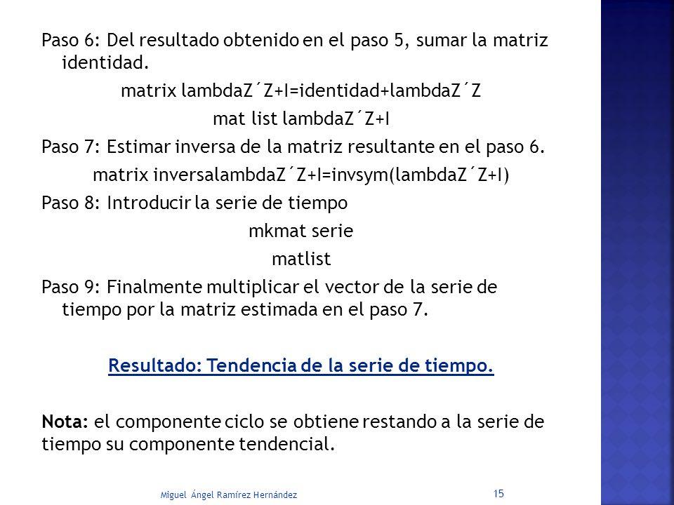 Paso 6: Del resultado obtenido en el paso 5, sumar la matriz identidad. matrix lambdaZ´Z+I=identidad+lambdaZ´Z mat list lambdaZ´Z+I Paso 7: Estimar in