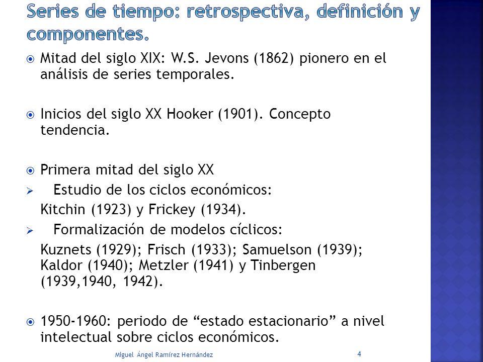 Mitad del siglo XIX: W.S. Jevons (1862) pionero en el análisis de series temporales. Inicios del siglo XX Hooker (1901). Concepto tendencia. Primera m
