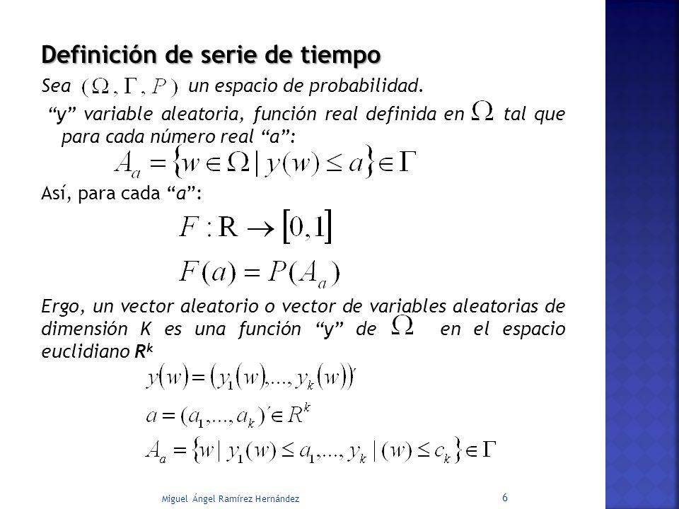 Definición de serie de tiempo Sea un espacio de probabilidad. y variable aleatoria, función real definida en tal que para cada número real a: Así, par