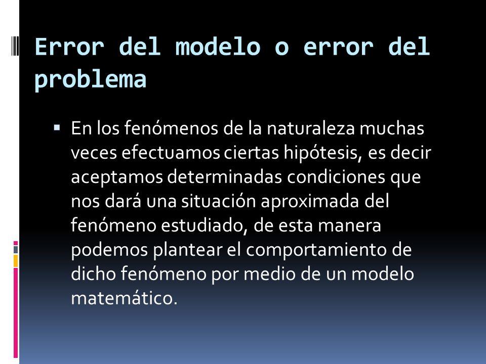 Error del modelo o error del problema En los fenómenos de la naturaleza muchas veces efectuamos ciertas hipótesis, es decir aceptamos determinadas con