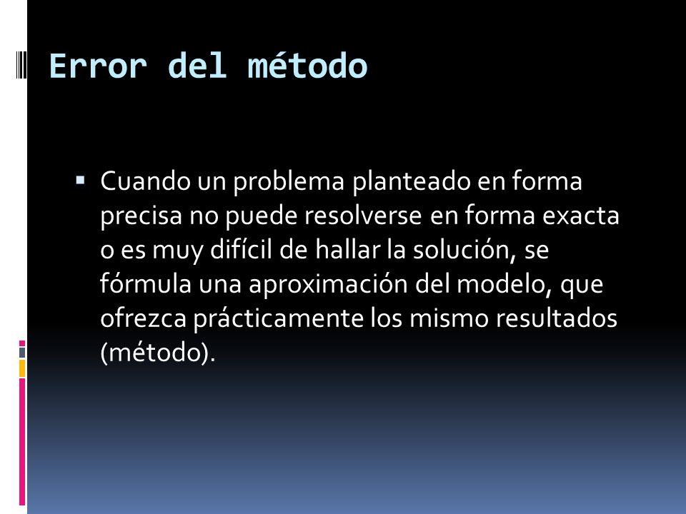 Error del método Cuando un problema planteado en forma precisa no puede resolverse en forma exacta o es muy difícil de hallar la solución, se fórmula