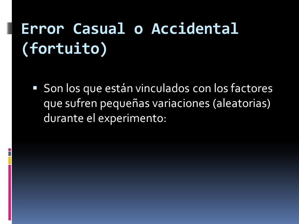 Error Casual o Accidental (fortuito) Son los que están vinculados con los factores que sufren pequeñas variaciones (aleatorias) durante el experimento