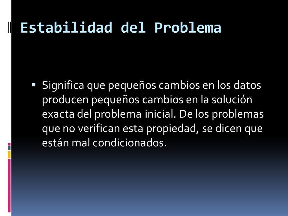 Estabilidad del Problema Significa que pequeños cambios en los datos producen pequeños cambios en la solución exacta del problema inicial. De los prob