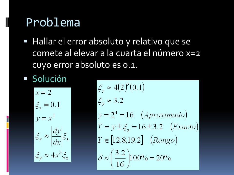 Problema Hallar el error absoluto y relativo que se comete al elevar a la cuarta el número x=2 cuyo error absoluto es 0.1. Solución