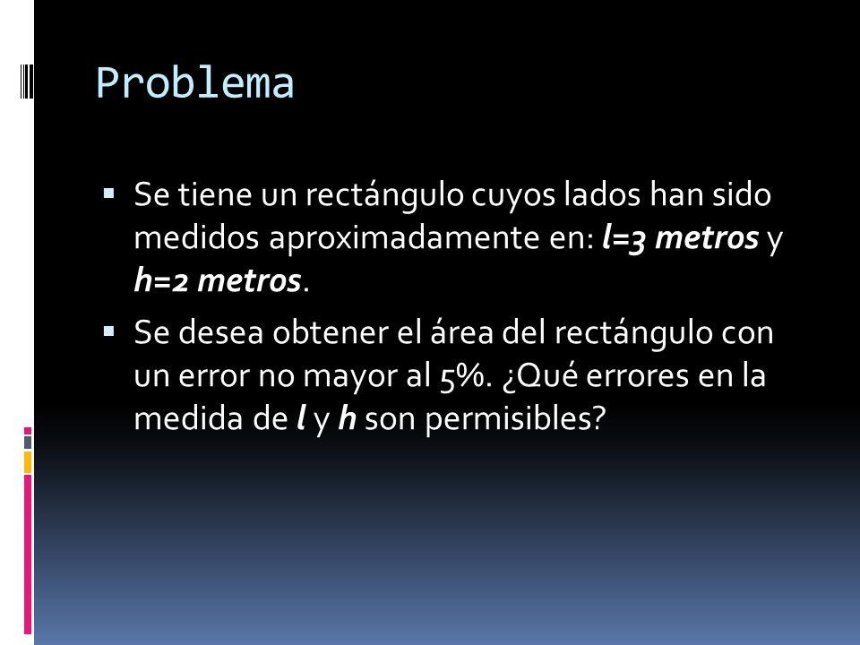Problema Se tiene un rectángulo cuyos lados han sido medidos aproximadamente en: l=3 metros y h=2 metros. Se desea obtener el área del rectángulo con