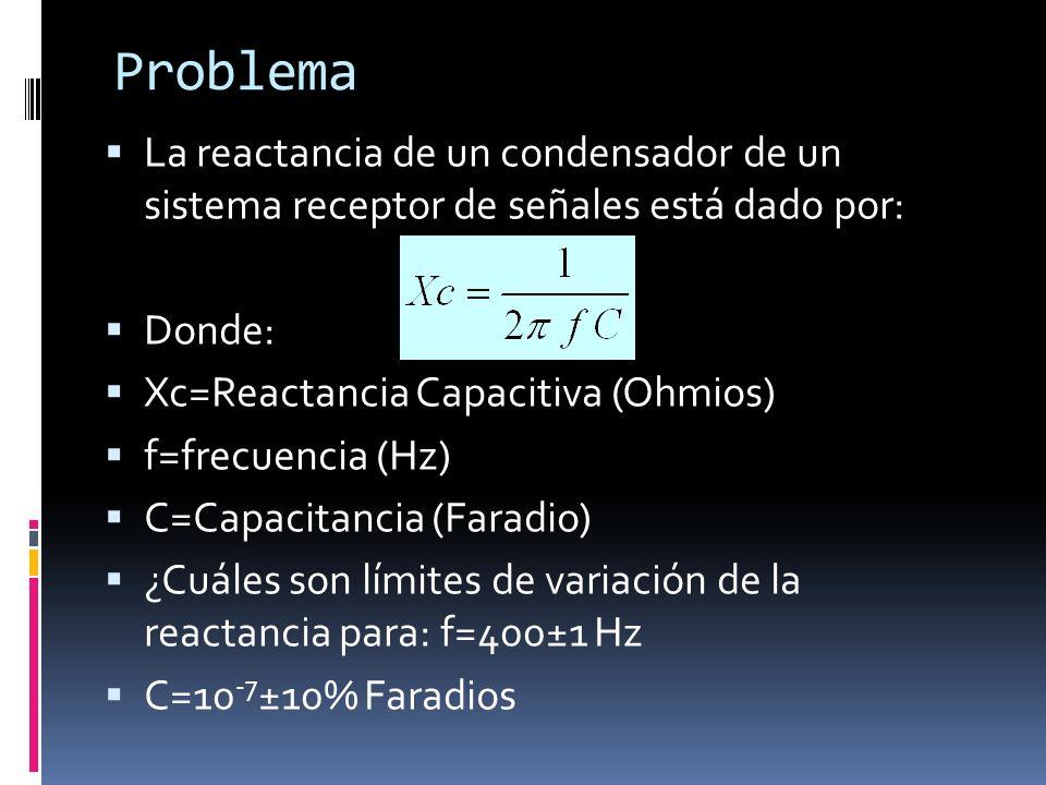 Problema La reactancia de un condensador de un sistema receptor de señales está dado por: Donde: Xc=Reactancia Capacitiva (Ohmios) f=frecuencia (Hz) C
