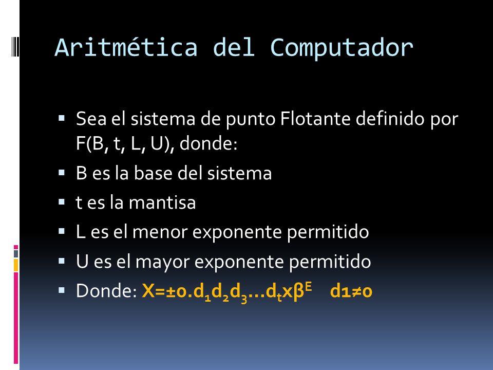 Aritmética del Computador Sea el sistema de punto Flotante definido por F(B, t, L, U), donde: B es la base del sistema t es la mantisa L es el menor e