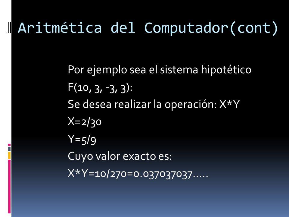 Aritmética del Computador(cont) Por ejemplo sea el sistema hipotético F(10, 3, -3, 3): Se desea realizar la operación: X*Y X=2/30 Y=5/9 Cuyo valor exa