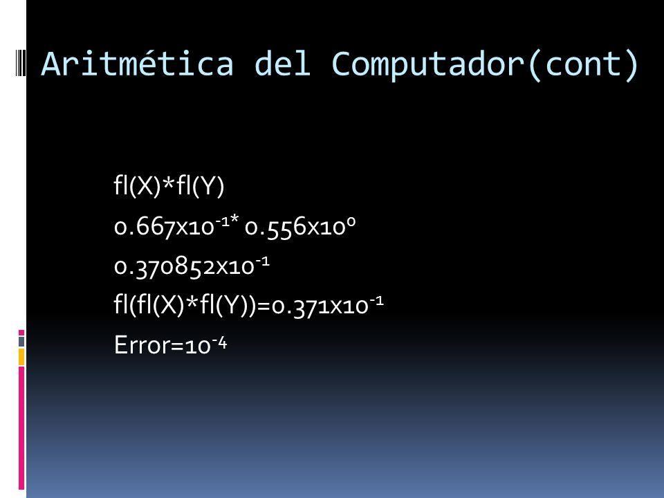 Aritmética del Computador(cont) fl(X)*fl(Y) 0.667x10 -1* 0.556x10 0 0.370852x10 -1 fl(fl(X)*fl(Y))=0.371x10 -1 Error=10 -4