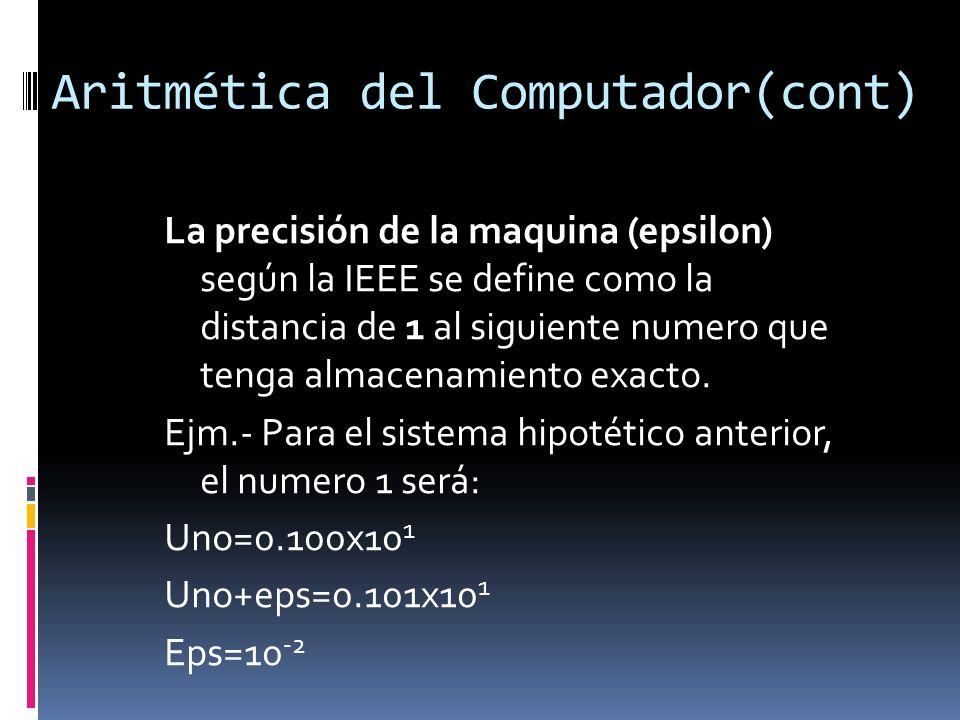 Aritmética del Computador(cont) La precisión de la maquina (epsilon) según la IEEE se define como la distancia de 1 al siguiente numero que tenga alma