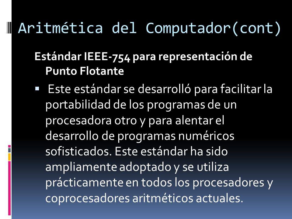Aritmética del Computador(cont) Estándar IEEE-754 para representación de Punto Flotante Este estándar se desarrolló para facilitar la portabilidad de