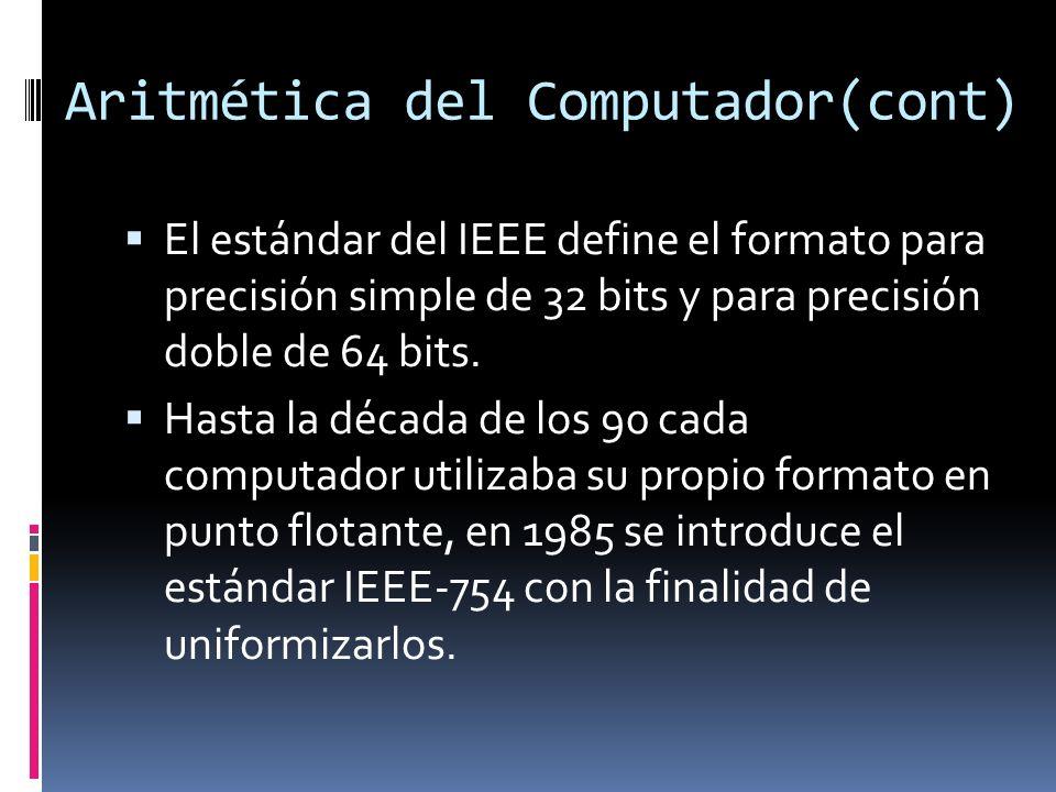 Aritmética del Computador(cont) El estándar del IEEE define el formato para precisión simple de 32 bits y para precisión doble de 64 bits. Hasta la dé