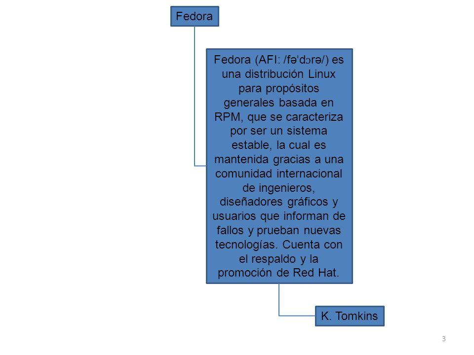 3 Fedora Fedora (AFI: /fə ˈ d ɔ rə/) es una distribución Linux para propósitos generales basada en RPM, que se caracteriza por ser un sistema estable,