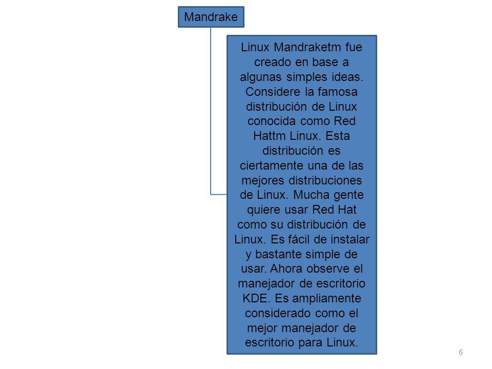 6 Mandrake Linux Mandraketm fue creado en base a algunas simples ideas. Considere la famosa distribución de Linux conocida como Red Hattm Linux. Esta