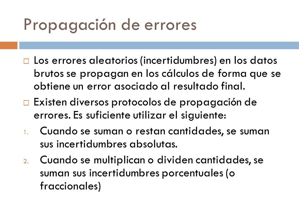 Propagación de errores Los errores aleatorios (incertidumbres) en los datos brutos se propagan en los cálculos de forma que se obtiene un error asocia