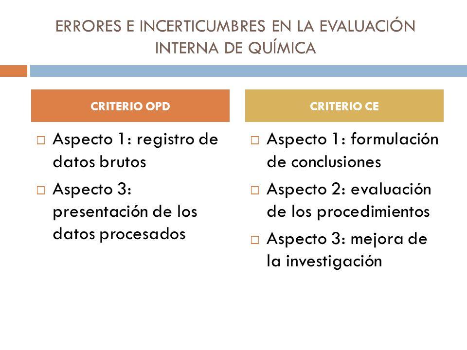 ERRORES E INCERTICUMBRES EN LA EVALUACIÓN INTERNA DE QUÍMICA Aspecto 1: registro de datos brutos Aspecto 3: presentación de los datos procesados Aspec