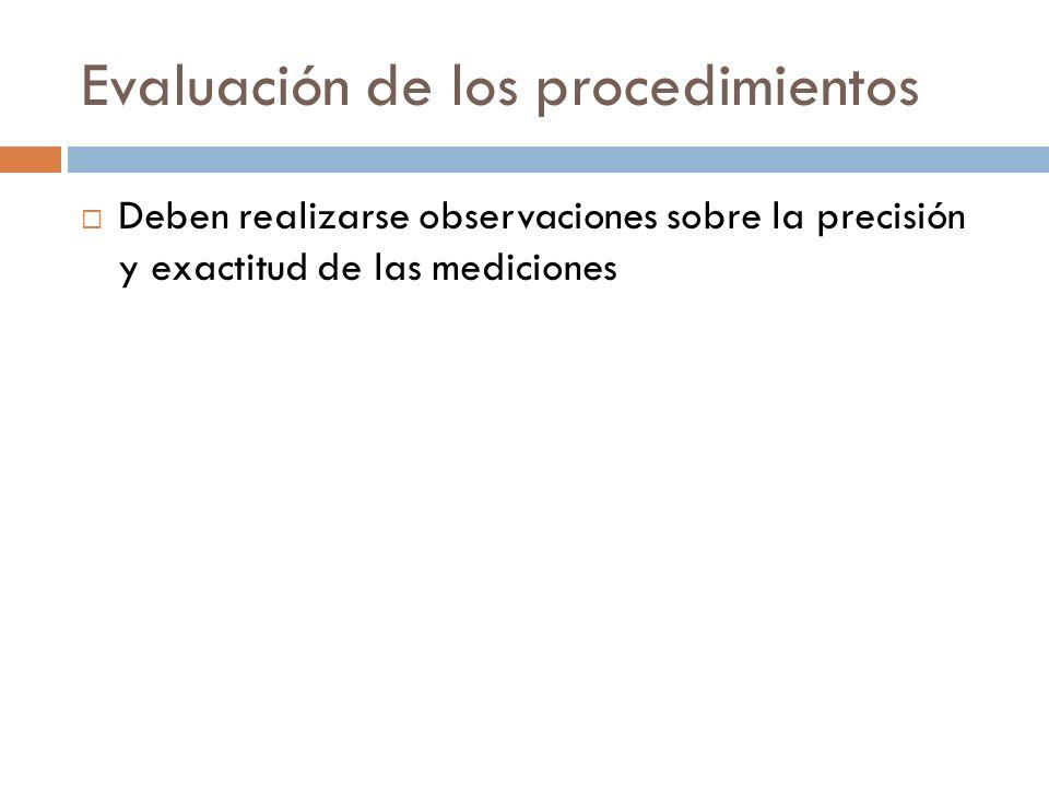 Evaluación de los procedimientos Deben realizarse observaciones sobre la precisión y exactitud de las mediciones