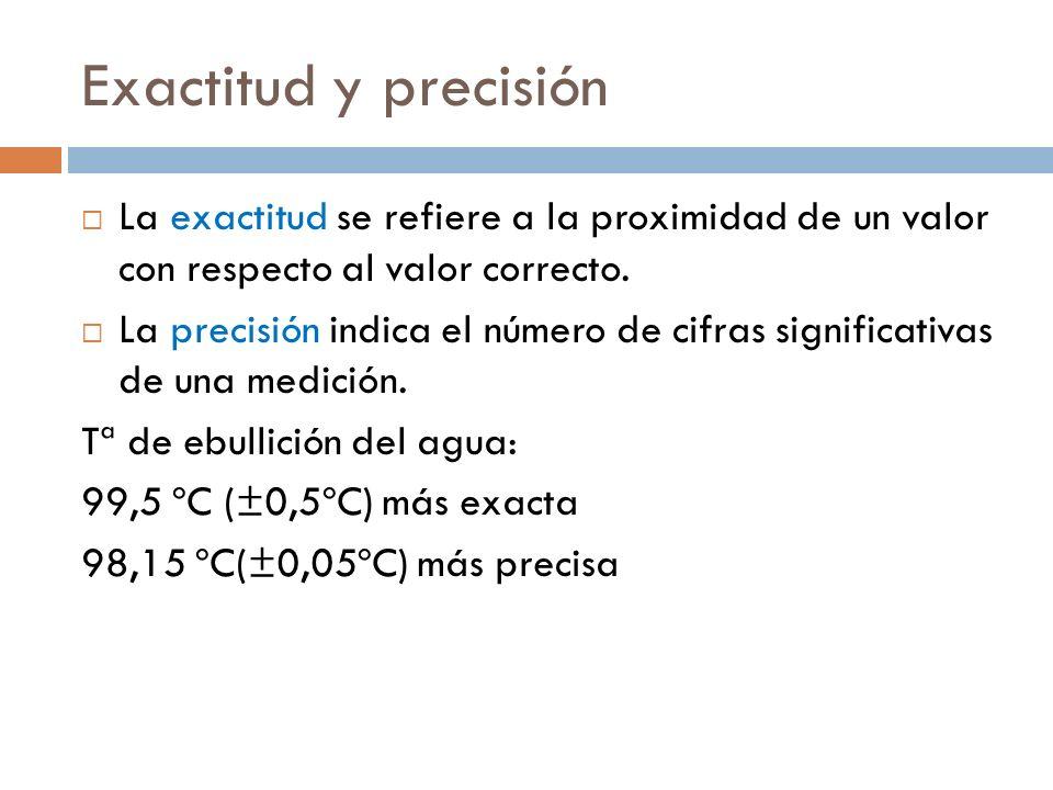 Exactitud y precisión La exactitud se refiere a la proximidad de un valor con respecto al valor correcto. La precisión indica el número de cifras sign