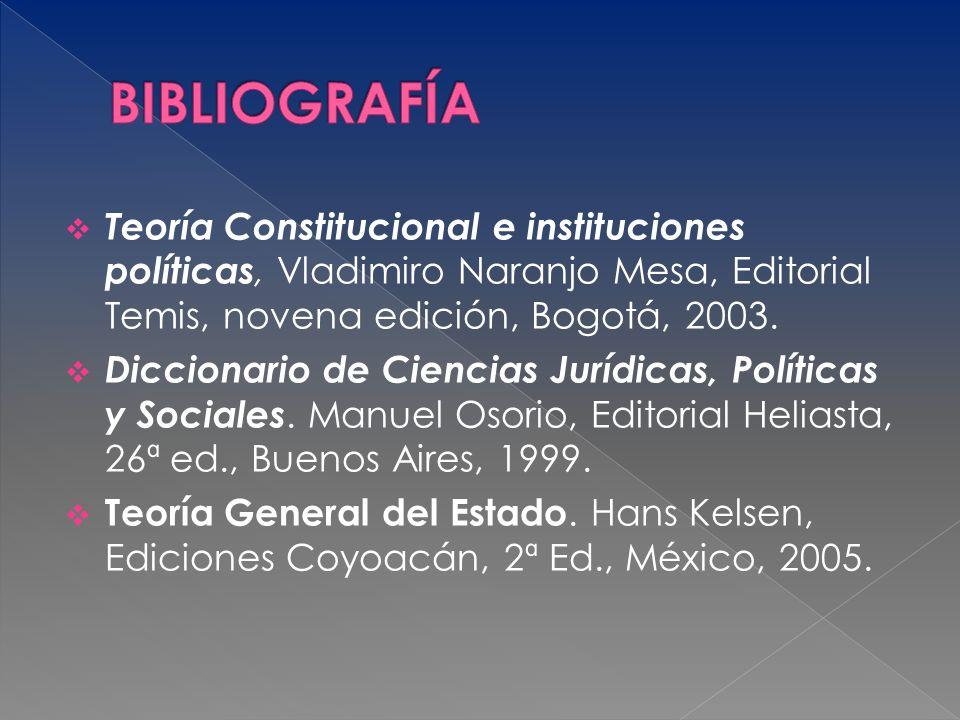 Teoría Constitucional e instituciones políticas, Vladimiro Naranjo Mesa, Editorial Temis, novena edición, Bogotá, 2003. Diccionario de Ciencias Jurídi
