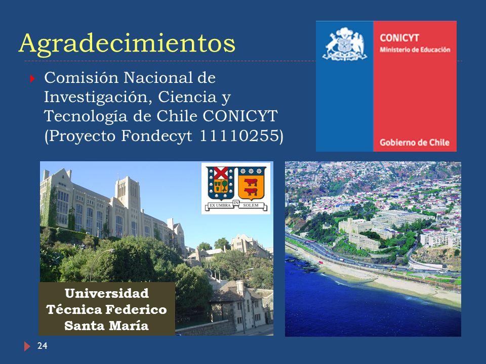 24 Agradecimientos Comisión Nacional de Investigación, Ciencia y Tecnología de Chile CONICYT (Proyecto Fondecyt 11110255) Universidad Técnica Federico